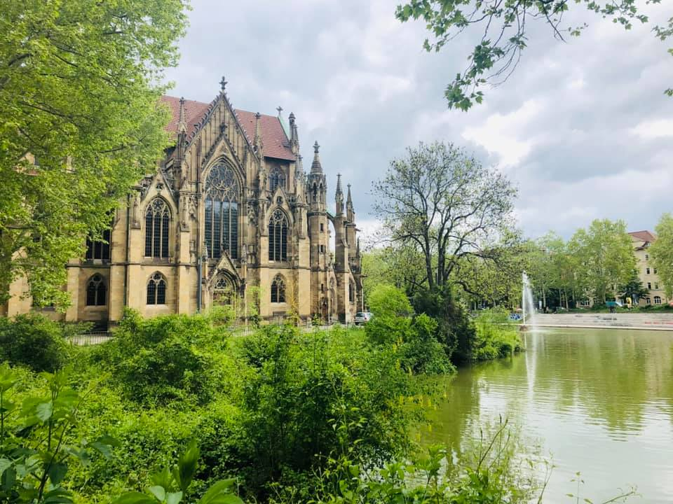 The Protestant Church of St John in Stuttgart was built in the Gothic Revival style from 1864 to 1876 by its chief architect, Christian Friedrich von Leins. It lies on a peninsula of the Feuersee, while the main entrance and tower marks the beginning of the former Johannesstraße